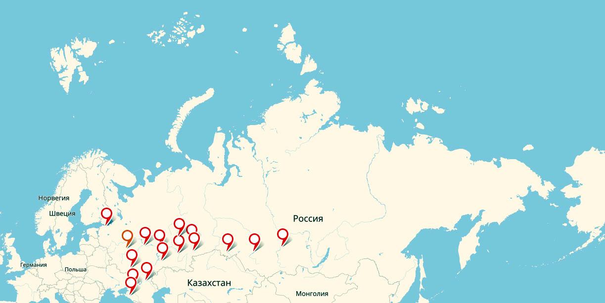 Города миллионики России на карте