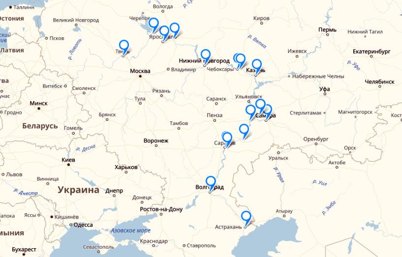 Карта самых крупных городов на Волге