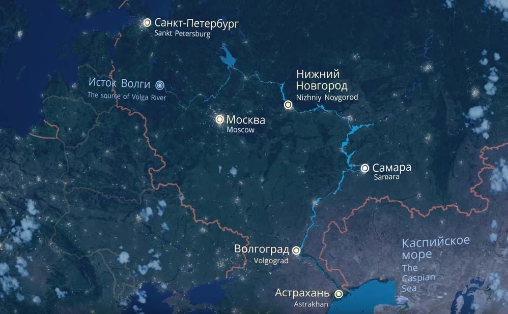 река Волга на карте России