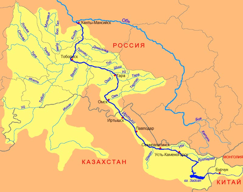 Карта реки Иртыш